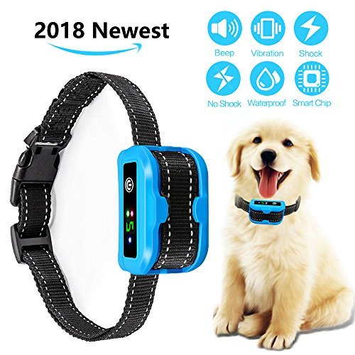 Bark Collar [2018 Upgrade Version] Humane Anti Bark Training Collar, NO SHOCK, Harmless and Humane.Rechargeable Anti Bark Control Device for Small Medium Large Dogs - Safe Pet Waterproof Device by Cinsey