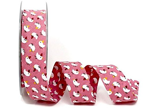 Spiral Safisa Pink Birds Print 100% Cotton 30mm Bias Tape on a 20m Roll by Spiral