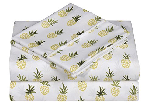 (Caribbean Joe Ultra-Soft Double Brushed 4-Piece Microfiber Sheet Set. Beautiful Tropical Patterns, and Vibrant Solid Colors, Luxury, All-Season Bed Sheet Set - Pineapple,)