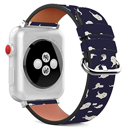Compatible with Apple Watch - 38mm Leather Wristband Bracelet with Stainless Steel Clasp and Adapters - Cute Halloween