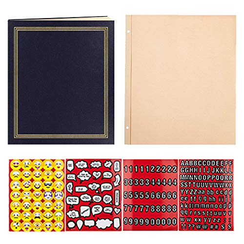(Pioneer Photo Album 100 Page White + Pioneer 50 Page Refill + Scrapbook Emoji Stickers (Navy Blue))