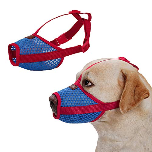 Rantow Breathable Mesh Pet Dog Muzzle - Anti Biting Barking Screaming Prevent Accidental Eating - Small Medium Large Dogs Adjustable Mouth Cover (M)