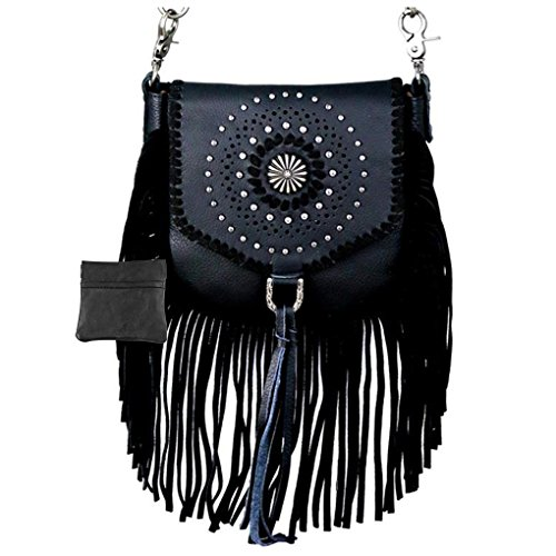 Handcrafted Leather 4 in 1 Bundle Clutch Crossbody Biker Bag w Fringe & Coin Key Fob (Black Antiqued Concho)