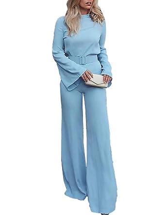 48180800d3 Senggeruida Women High Neck Bell Sleeve Wide Leg Jumpsuit with Belt at  Amazon Women s Clothing store