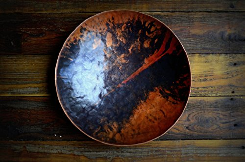 Large Round Copper Bowl Hammered Handmade Hand Forged Roy Adams Metal Vessel Blacksmith Made Art Hammer Texture * Copper Bowl with Marbled Texture and Forge Color (Patina Hand Forged)