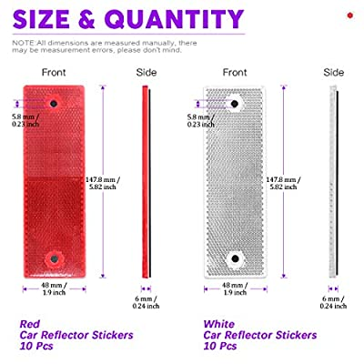 Swpeet 20Pcs Universal Red + White Plastic Rectangular Stick-on Car Reflector Sticker, Door Reflectors Interior Red + White Compatible Warning Plate Adhesive Reflector for Most Car: Automotive