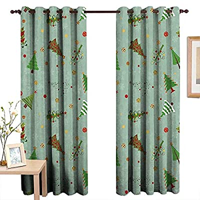 Qenuanmpo Pattern Curtains Christmas,A Collection of Different Christmas Trees Holiday Themed Snowflake Background,Multicolor,Living Room and Bedroom Multicolor Printed Curtain Sets