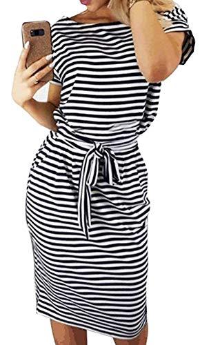ECHOINE Women Stripe Summer Short Sleeve Casual Pencil Sheath Dress with Belt Black
