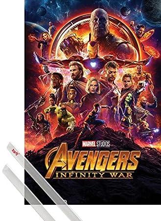 1art1 Los Vengadores Póster (91x61 cm) Infinity War, Cartel De Cine Y 1 Lote De 2 Varillas Transparentes