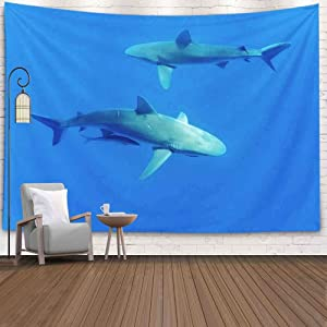 Capsceoll Halloween Christmas Thanksgiving Day Fall Wall Tapestry, 80X60 Inches Sharks,Oahu Hawaii Wall Hanging Tapestry for Décor Dorm Tapestry Living Home