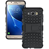 Pinaaki Hard Armor Hybrid Rubber Bumper Flip Stand Rugged Back Case Cover For Samsung Galaxy J7 2016 / J7 Prime [Black]