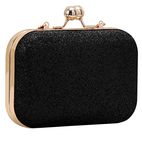 Black Bag Evening Bag Ladies Women's Sasairy with Strap Clutch Handbag Wedding Shoulder XqwRpP5OxP