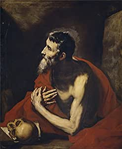 polyster Canvas ,the Reproductions Art Decorative Canvas Prints of oil painting 'Ribera Jose de Saint Jerome 1644 ', 12 x 15 inch / 30 x 37 cm is best for Living Room decoration and Home decor and Gifts