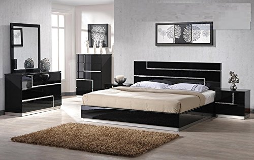 Modern Barcelona 4 Piece Bedroom Set Eastern King Size Bed Mirror Rhinestones On Dresser Nightstand Headboard Black Lacquer Bedroom Furniture ()