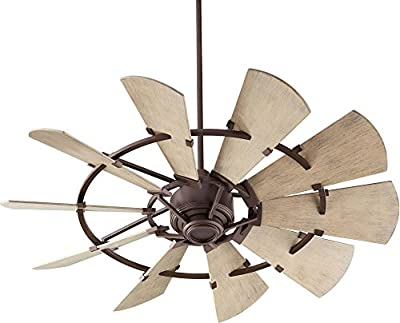 "Quorum International Windmill 52"" Damp Fan in Oiled Bronze"
