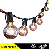 25 Ft Clear Globe G40 String Lights Set with 25 G40 Bulbs Included End-to-end - UL Listed Indoor & Outdoor Lights Settings Patio String Lights & Christmas Decorative Lights & Holiday Lights & Umbrella Lights Perfect for Backyards, Gazebos, Gardens, P...