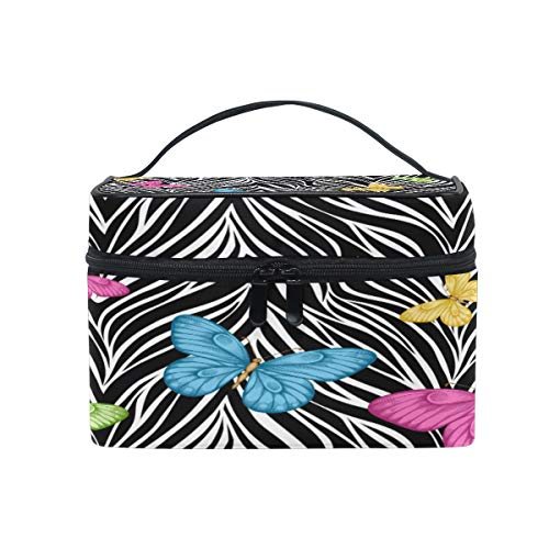 (Toprint Large Makeup Bag Organizer Colorful Butterfly Zebra Print Cosmetic Case Bag Toiletry Storage Portable Zipper Pouch Travel Brush Bag for Women Lady)