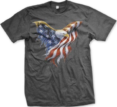 American Flag Bald Eagle U.S. Pride T-shirt, Medium, Charcoal
