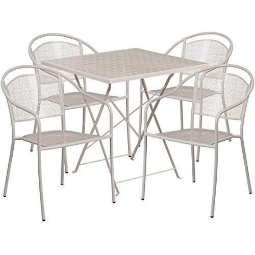 MFO 28'' Square Light Gray Indoor-Outdoor Steel Folding Patio Table Set with 4 Round Back Chairs