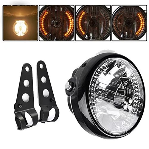 "Paddsun Universal Black Bracket Mount Universal 7"" Motorcycle Bike Headlight LED Turn Signal Light"