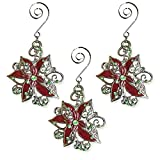 BANBERRY DESIGNS Poinsettia Christmas Ornaments – Set of 3 Filigree Red and Green Poinsettia Metal Ornament Set – Christmas Poinsettias – Christmas Ornament Sets Review