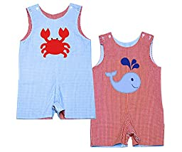 Boutique Little Boys Toddler Reversible Shortall Romper (4T)