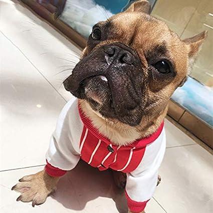 HarveyRudol85 Patrón de Rayas Francés Bulldog Ropa de Invierno para Mascotas Ropa para Perros Perro suéteres