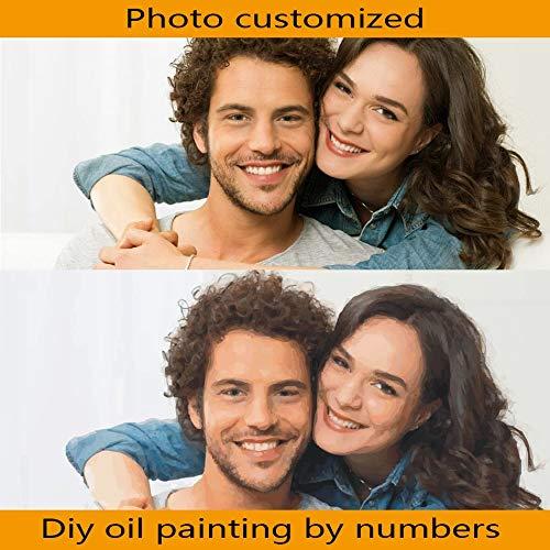 30CMx40CM no framed  KYKDY Photo sans cadre personnalisée bricolage peinture par numéro cadeau unique pour les enfants ami Acfamily Arylic image Wall Art décoration, 40CMx40CM non encadrée