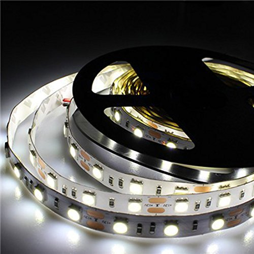 12V Flexible Cool White 6500K LED Strip Lights 300 Units 5050 LEDs, Non-Waterproof LED Tape Lights Pack of (Cut Waterproof Tape)