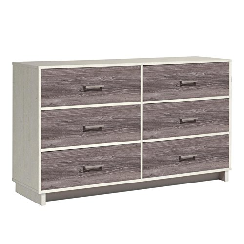 Ameriwood Home Colebrook 6 Drawer Dresser, Vintage White/Rustic by Ameriwood Home