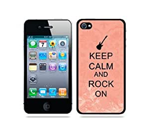 Keep Calm And Rock On Coral Floral - Protective Designer WHITE Case - Fits Apple iPhone 4 / 4S / 4G