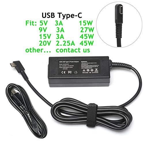 45W USB Type C AC Adapter Charger Replacement For HP Spectre x360 13 TPN-CA01,Lenovo Yoga 720 910 720-13IKB 910-13IKB,Miix 720-12ikb,IdeaPad 720s,Thinkpad X1 Tablet Yoga 5 Pro GX20M33579 Power Cord