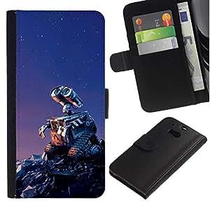 NEECELL GIFT forCITY // Billetera de cuero Caso Cubierta de protección Carcasa / Leather Wallet Case for HTC One M8 // Wallee Robot