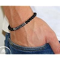 Handmade Onyx and Labradorite Gemstone Bracelet For Men By Galis Jewelry - Beaded Bracelet For Men - Strech Bracelet For Men