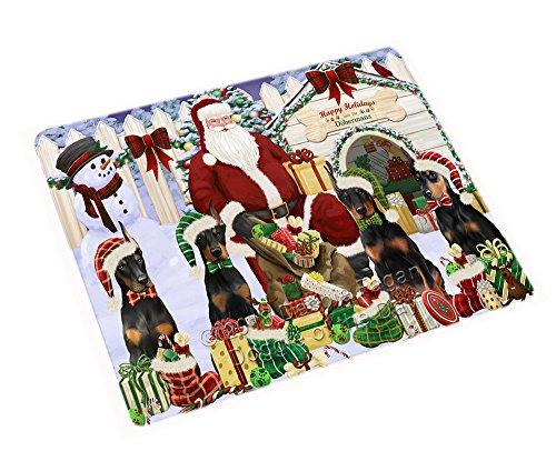 Doberman Pinscher Tapestry (Happy Holidays Christmas Doberman Pinschers Dog House Gathering Blanket BLNKT78591 (50x60 Plush))