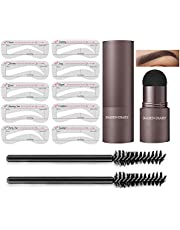 Adjustable Eyebrow Stamp and 10 Styles Stencil Kit – The Perfect Brow Pomade Stamp Shaping Kit Eyebrow Definer with Eyebrow Pen Brush and Eyebrow Trimmer Buildable Brow Stencil Makeup Tools (Brunette)