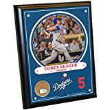 "MLB Los Angeles Dodgers Corey Seager Plaque with Game Used Dirt from Dodger Stadium, 8"" x 10"", Navy"