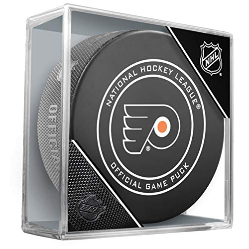 (NHL Philadelphia Flyers Official Game Hockey Puck with Holder)