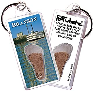 """product image for Branson """"FootWhere"""" Keychain (BS103 - Riverboat). Authentic Destination Souvenir acknowledging Where You've Set Foot. Genuine Soil of Featured Location encased Inside Foot Cavity. Made in USA"""