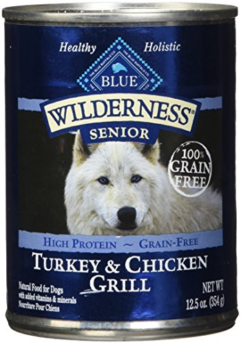 Blue Buffalo Wilderness High Protein Grain Free, Natural Senior Wet Dog Food, Turkey & Chicken Grill 12.5-Oz Can (Pack Of 12) (Best Canned Dog Food For Senior Dogs)