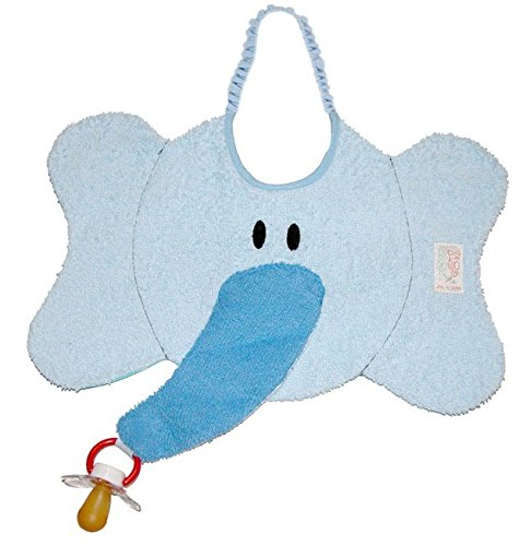 Zigozago – Baby Bib ELEPHANT with dummy pacifier chain – Tie: Elastic – One Size – Color: Blue