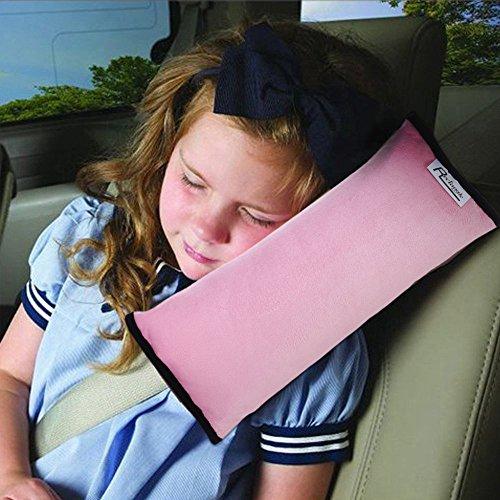 Autolover Children Car Seat Belts Shoulder Protection Back Cushion Soft Neck Sleep Pillow Vehicle Headrest Harness Pad  Pink