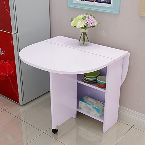 WSSF- Folding Table Desk Floor-standing Kitchen & Dining Table Scalable Circular Table Cabinet Combination Varnish Computer Desk Moveable Foldable Table,1208075cm (Color : White) ()