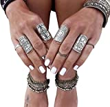Cougar's Choice 4 Pcs Vintage Exaggerated Punk Totem Carved Knuckle Nail Midi Rings