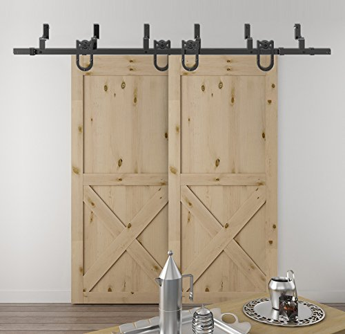 DIYHD 6FT Bypass Double Sliding Barn Wood Door Hardware Rustic Black Bypass Horseshoe Hanger Barn Door Kit by DIYHD