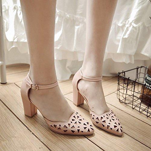 ankle Pumps Mee heels chunky süß Damen strap Shoes Pink xqBqwOAH