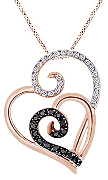 AFFY Double Heart Pendant Necklace in 14k Gold Over Sterling Silver