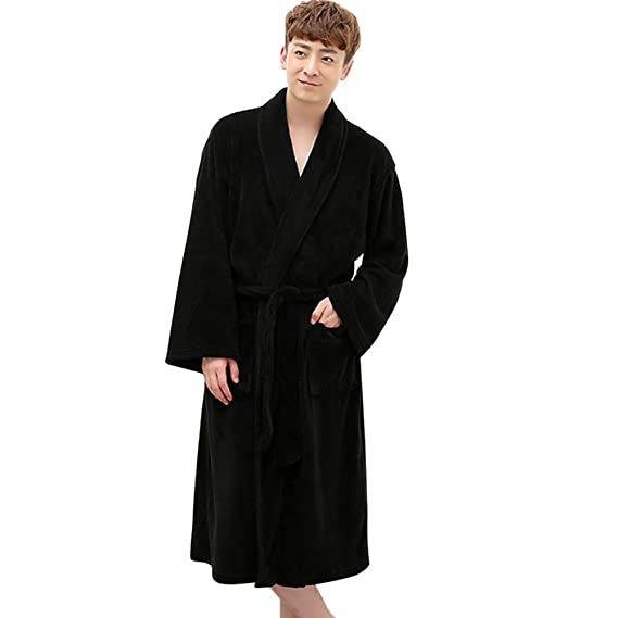 d39b149bef Image Unavailable. Image not available for. Colour  Asdomo Mens Robes  Kimono Bathrobe Classical Terry Cloth Long Sleepwear Cotton ...