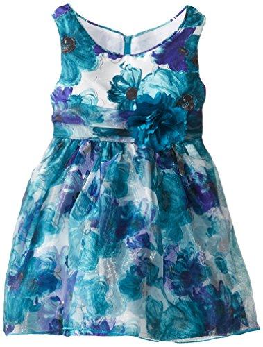 Sweet Heart Rose Little Girls' Allover Floral Print Occasion Dress, Blue/Multi, 6X