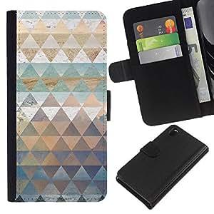 KLONGSHOP // Tirón de la caja Cartera de cuero con ranuras para tarjetas - Patrón Polígono trullo Naturaleza Pastel Agua - Sony Xperia Z3 D6603 //